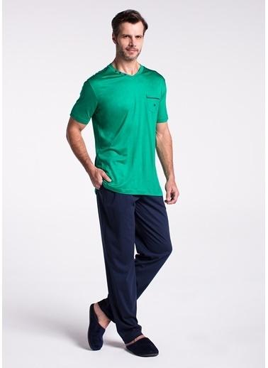 Dagi V Yaka Kısa Kollu Pijama Takımı Yeşil
